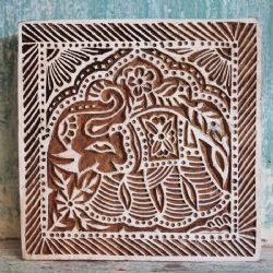 Elephant Facing Left Block Print